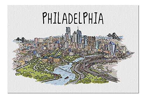 Philadelphia, Pennsylvania – Line Drawing (20 x 30 cm) Premium 1000-teiliges Puzzle