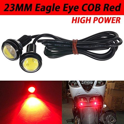TABEN 23 mm LED rojo ojo de águila luz de coche de alta potencia 9 W LED diurna Correr DRL cola reversa estacionamiento bombillas de señal de 12 V (paquete de 2)
