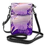 Lsjuee Montagne lac Architecture paysage bandoulière téléphone sac à main petit Mini sac à bandoulière pochette de téléphone portable en cuir portefeuille pour femmes filles