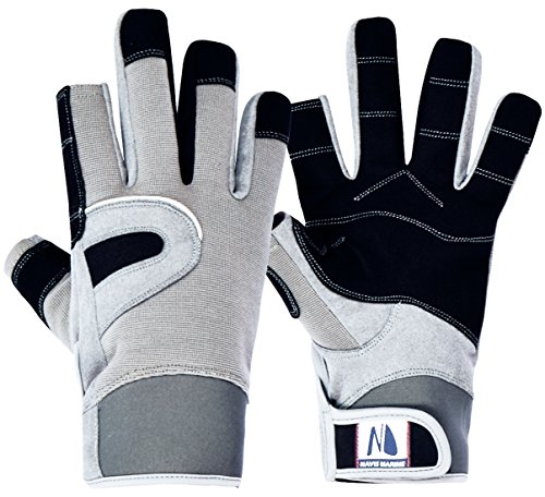 Navis Marine Sailing Gloves for Men Women Rowing Boating Fishing Kayaking All Water Sports Perfect UV Protection Short Finger(Carbon,Medium)