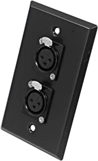 Seismic Audio SA-PLATE3 Black Stainless Steel Wall Plate with Dual XLR Female Connectors