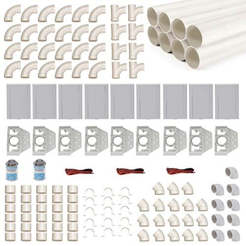 Zentralstaubsauger Einbau-Set für 9 Saugdosen mit Rohren, Fittings & Co. - Montageset für DIY-Einbau einer Staubsaugeranlage - Saugdose VacuValve rechteckig