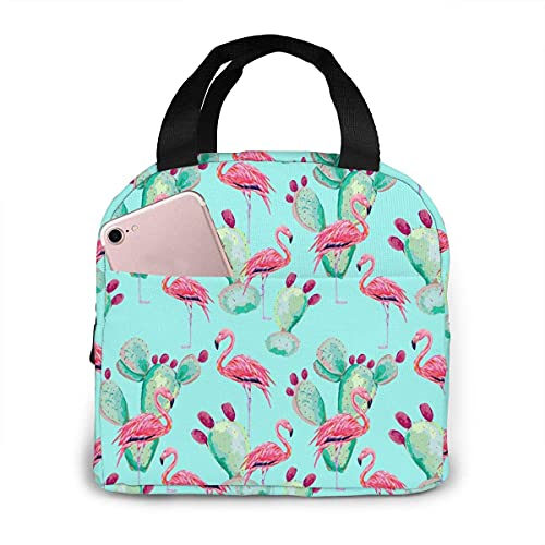 Flamingo Cactus Lunch Bag, Insulated Reusable Lunchbox Portable Lunch Tote Cooler Organizer Bag For Kids Boys Girls School Office Travel Picnic