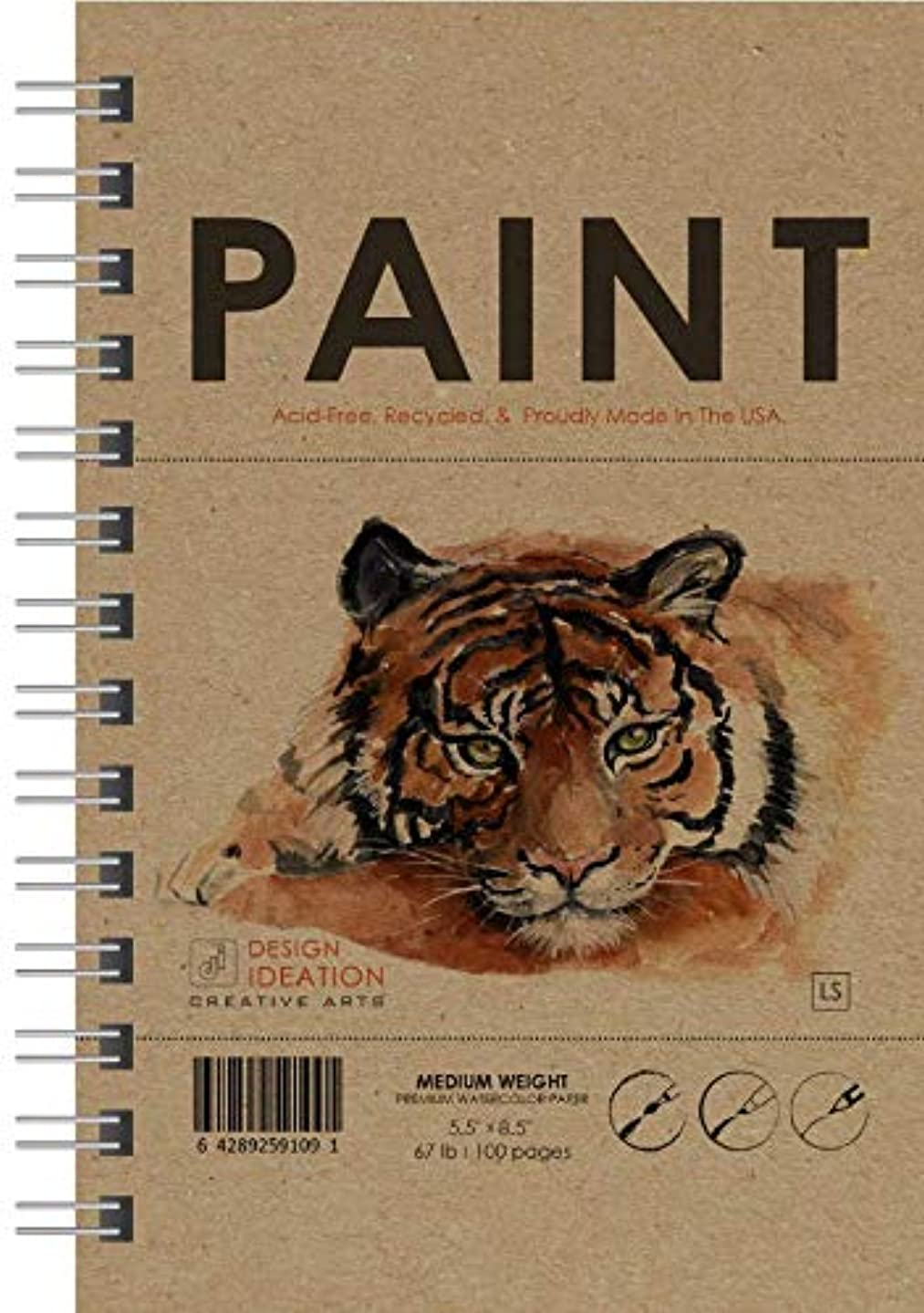Watercolor: Premium Paper Watercolor Book for Pencil, Ink, Marker, Charcoal and Watercolor Paints. Great for Art, Design and Education. Made in The USA. (Classic 5.5