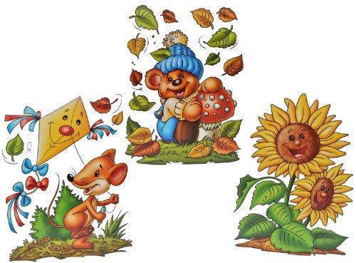 alles-meine.de GmbH 3 Stück: XL Fensterbilder Herbst - Teddy / Sonnenblume / Maus mit Drachen - Sticker Fenstersticker Aufkleber selbstklebend & statisch haftend wiederverwendbar
