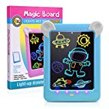 Fricon Magic Pad for Boys, Light Up Drawing Pad LCD Writing Tablet for Kids Educational Toys for 3-10 Year Old Boys Gifts for Boys Age 3-10 Doodle Pad Draw with Light Blue