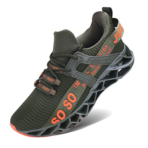 Wonesion Herren Fitness Laufschuhe Atmungsaktiv Rutschfeste Mode Sneaker Sportschuhe, ,, 6-grün, 42 EU