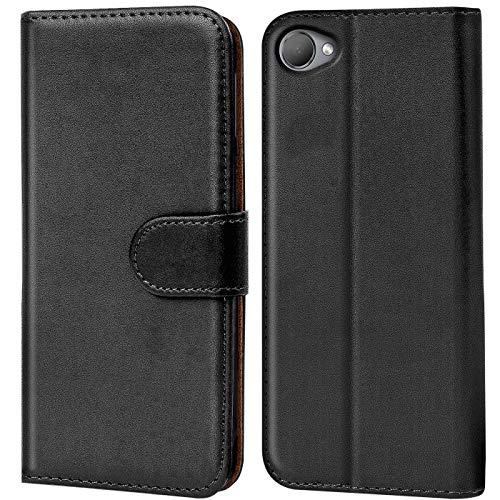 Verco Desire 12 Hülle, Handyhülle für HTC Desire 12 Tasche PU Leder Flip Hülle Brieftasche - Schwarz