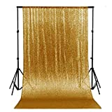 ShinyBeauty Sequin Backdrop 4FTx6FT-Gold Backdrop Photography and Photo Booth Backdrop for Wedding/Party/Photography/Curtain/Birthday/Christmas/Prom/Other Event Decor - 4FTx6FT(48inx72in) (Gold)