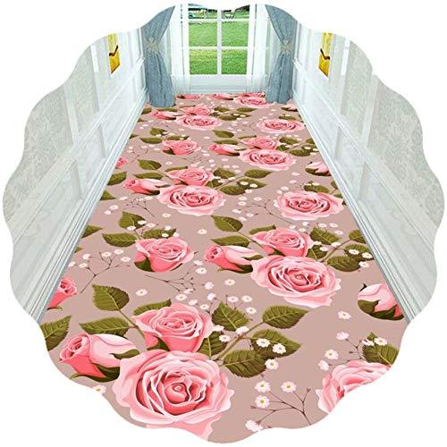 JIAJUAN Tappeto Corridoio Passatoia, Antiscivolo Sala Ingresso La Zona Tappeti, Rosa Fiori Modello Facile Pulire - Perfezionare per Soggiorno Sala da Pranzo Camera da Letto