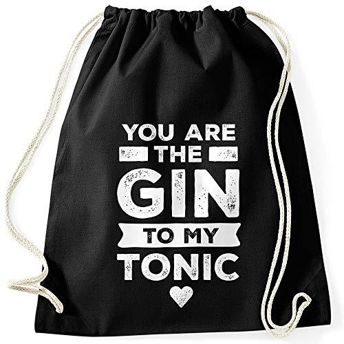 MoonWorks® Turnbeutel Spruch You Are The Gin to My Tonic lustige Liebesbotschaft Geschenk Freund/Freundin Valentinstag schwarz Unisize
