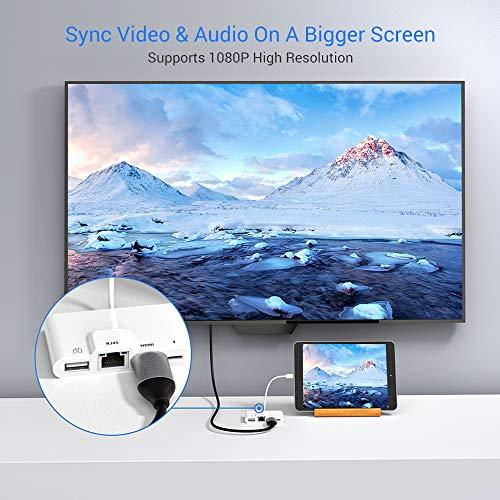 HOPLAZA RJ45 Ethernet LAN Netzwerkadapter für Phone/Pad, 4 in 1 1080P HDMI Digital AV Adapter für HDTV Projector Monitor USB Kamera Reader Adapter Lade- und Daten Sync OTG Konverter Adapter