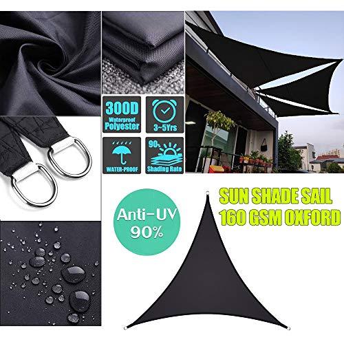 Lxf-xg La Cortina de Sun de Vela al Aire Libre del Partido de jardín del Patio de protección Solar Toldo Toldo 98% UV Bloque Triángulo de Arena con la Cuerda Gratuito,Negro,2 * 2 * 2m