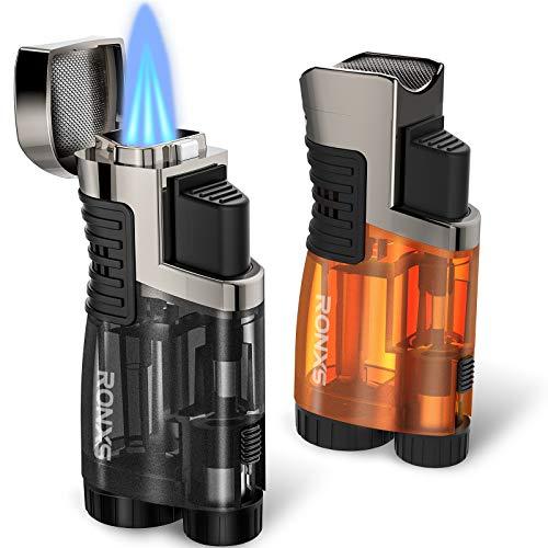 RONXS Torch Lighters 2 Pack Triple Jet Flame Butane Lighter, Pocket Lighter with Punch Cutter, Refillable Windproof Lighter (Butane Gas Not Included) (Black&Orange)