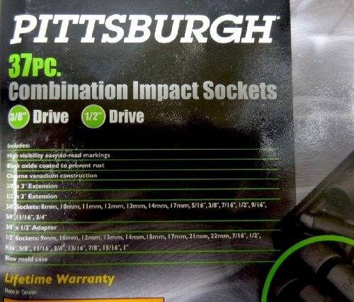 Pittsburgh 37 Pc. Combination Impact Sockets