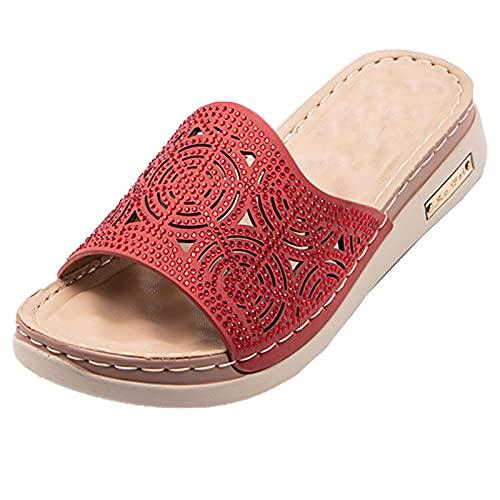 Sandalias De Mujer Sandalias, Plataformas Sandalias para Mujeres, Fibra Superfina, Diseño De Talón Cómodo, Zapatillas Casa Mujer Hueca De Punta Abierta (Color : Red, Size : EUR 41)