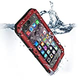 Compatible iPhone 8 Case, SE 2020 Waterproof Phone Case for iPhone 7 with Stand, Shockproof Military Grade Heavy Duty Silicone with Screen Protector Full Body Metal Cover for Apple Red