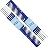 Lift Teasing Comb and Hair Pick – 2 Pack, Five Stainless Still Lifts - Chemical and Heat Resistant Detangler Gripper Comb – Anti Static Comb For All Hair Types – By Cantor