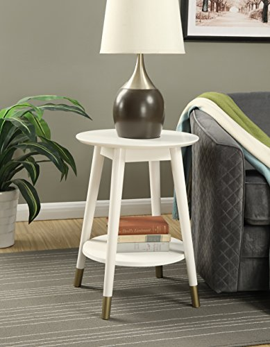 Convenience Concepts Wilson Mid Century Round End Table with Bottom Shelf, White