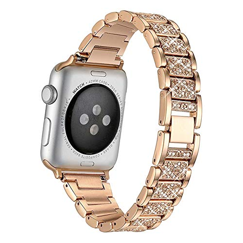 CHENPENG Stainless Steel Watch Bands Compatible with Apple Watch 1/2/3/4/5/6, Women Rhinestone Replacement Bracelet Valentine's Day Gift,rose gold,40mm