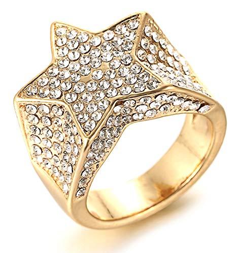 HALUKAKAH Anillo de Oro y Diamantes Iced out,Hombres Chapado en Oro Real de 18k Anillo Estrella de Cinco Puntas,Laboratorio Diamante,con Gratis Caja de Regalo