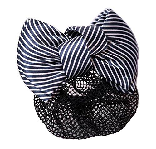 Ladies Beautiful Snood Net Barrette Hairnets Couverture de cheveux, Stripe Black