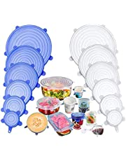 TECHVIDA Stretch Silicone Covers, 12 Packs of Different Sizes Silicone Cover for Foods, Reusable and Expandable Covers for Cookware and Freezer Cups