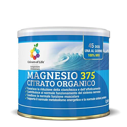 Colours Of Life Colours of Life Magnesio 375 Citrato Organico - Integratore di Magnesio Citrato - Elemento Essenziale per l'Organismo - 180 g