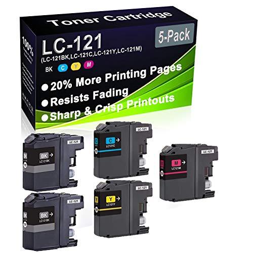 Paquete de 5 cartuchos de tinta remanufacturados (2BK+C+Y+M) de repuesto para Brother LC-121 LC121 (LC-121BK LC-121C LC-121Y LC-121M) para impresoras DCP-J132W DCP-J152W