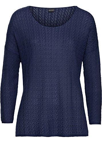 Dames lichte trui met Ajour-patroon in donkerblauw maat 33 tot 50 grootmazig bewerkt nummer 42291 (48/50)