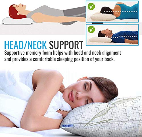 Bamboo Pillow - Premium Pillows for Sleeping- Memory Foam Pillow with Washable Pillow Case- Adjustable (Standard)