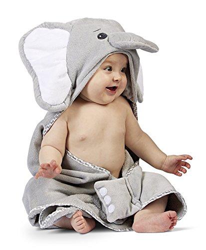 Bearington Baby Lil Spout Elephant Hooded Bath Towel, 24 x 24