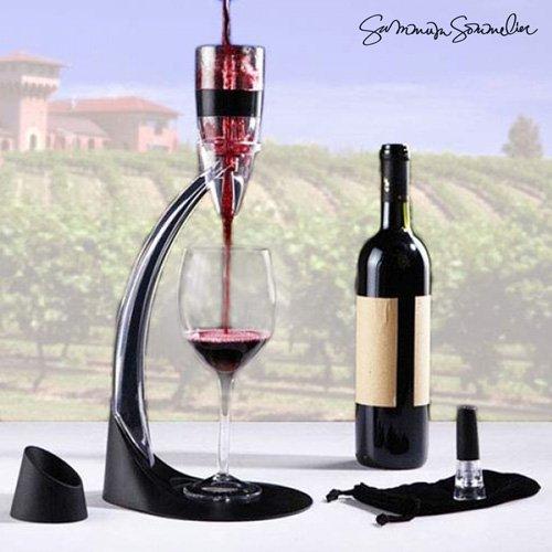Summum Sommelier Decanter di Vino Professionale, Nero, 16.5x 40x 18.5cm, 3Pezzi