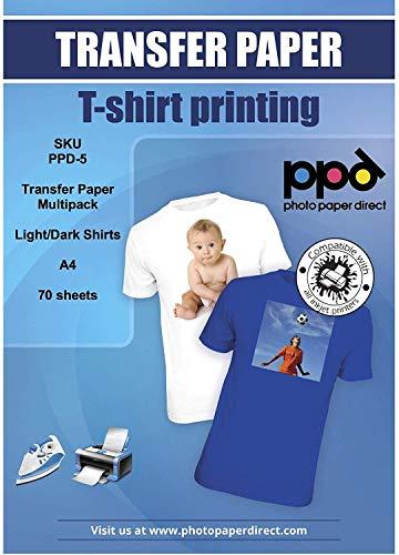 PPD Inkjet - A4 x 70 Hojas de Papel de Transferencia Térmica Premium para Camisetas y Tejidos Mixtos - 50 hh. Telas Claras y 20 hh. Telas Oscuras - Para Todas Impresoras de Inyección de Tinta - ¡Paquete de Variedad! - PPD-5-70