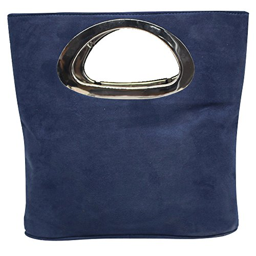 Wocharm Women's Designer Tote Bag Suede Leather Evening Large Clutch Bag Handbags (Navy Blue)