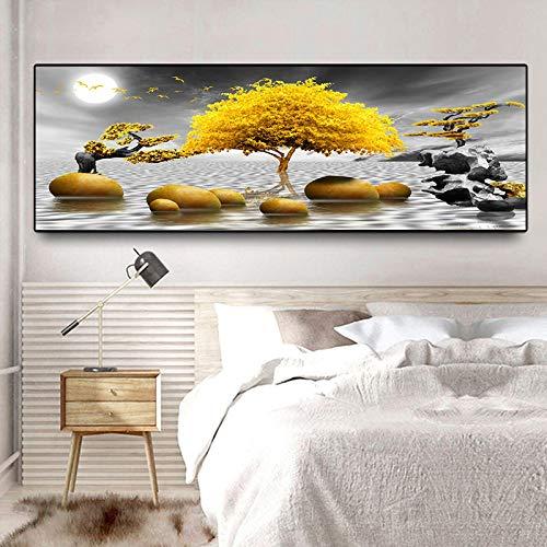YQLKC Arte de Paisaje Abstracto Dorado Moderno Imágenes de árboles y Piedras Doradas Pintura Arte de la Pared para la Sala de Estar Decoración del hogar 23.6'x70.9 (60x180cm) Sin Marco