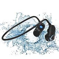 骨伝導イヤホン bluetooth 骨伝導水泳ヘッドホンIPX8深さ防水オープンイヤーワイヤレスMP3ミュージックプレーヤー8Gメモリースポーツ水泳ヘッドセット、マイク付きフィットネスドライビングサイクリング