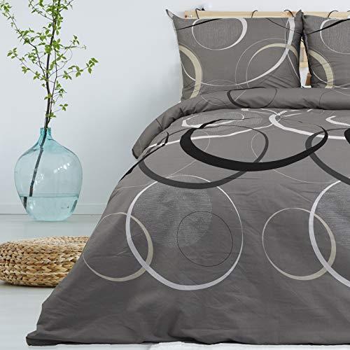 Ropa de cama 135 x 200 cm Deluxe 4 piezas, 100% algodón Renforcé, cremallera, juego de cama y fundas de almohada tamaño estándar, diseño geométrico círculos puntos gris hormigón