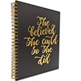 akeke She Believed She Could So She Did Motivational Inspirational Spiral Notebook/Journal, Gold Foil Words, Gold Wire-o Spiral, Diary Book Gift for Women, Lady, Friend, Sister, colleague, Daughter