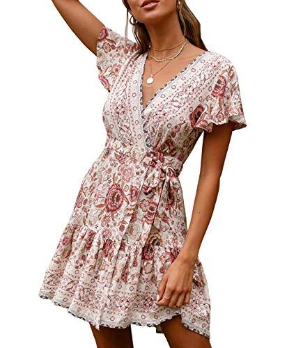 R.Vivimos Women's Summer Short Sleeve Casual Bohemian Beach Ruffle Floral Print Bow Tie Short Sun Dress (XL, White/Pink)