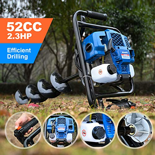 """WEMARS Post Hole Digger 52CC Earth Auger Gas Powered Garden Auger 2 Stroke Gas One Man Auger Planter for Digging Holes with Two Drill Bit 6"""" 8"""""""