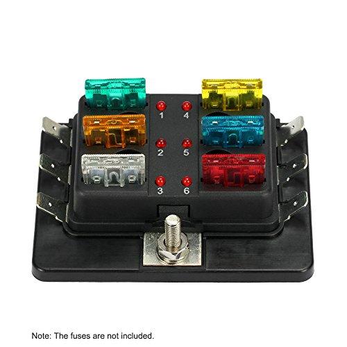 KKmoon Fusibili Portafusibili Scatola 6 Uscite Fuse Block con LED Spia Luminosa Kit per Auto Barca Trike 12V/24V