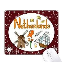 オランダの国家の象徴のランドマークのパターン オフィス用雪ゴムマウスパッド