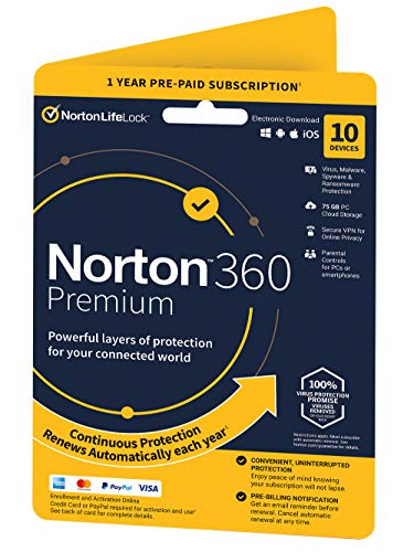 Norton 360 Premium 2021, Antivirus software for 10 Devices and 1-year...