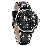 FEICE 自動巻き 機械式 腕時計 メンズ ドーム アナログ 本革 時計 おしゃれ シンプル 男性 時計 ビジネス メカニカル ウォッチ~41mm FM212 (ブラック)