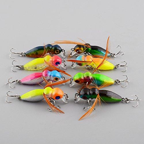 Forfar Angelköder 8x Lots Cicada Baits Angeln Köder Bass Crankbaits 4.5cm 3.4g Float Das Leben ist wie Tackle-Tool Haken Multicolor