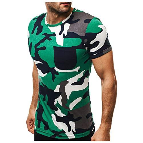 Deylaying Hombre Ejército Cuello Redondo Manga Corta, Bolsillo Frontal Músculo Slim Fit Camuflaje Sudadera Pull-Over