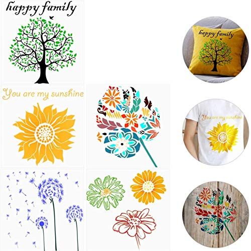 5Pcs Large Stencils for Painting, Floor Wall Tile Fabric Furniture Stencils Drawing, Include Dandelion, Life Tree, Daisies, Sunflower and Tropical Leaves Artistic Template