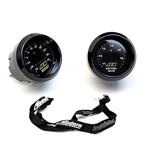 AEM 2 Gauge Display Set UEGO WideBand Air/Fuel Ratio Gauge + Boost Pressure Gauge -30-35psi + MAPerformance Lanyard