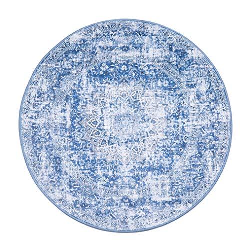 LMXJB Weinlese Round Area Rug Webstuhl Sofia Canterbury-Sammlung Traditioneller Persischer Weinlese Design Matte Moderne Teppiche Inspiriert Overdyed Distressed Fancy,Blue,Diameter100cm/39''